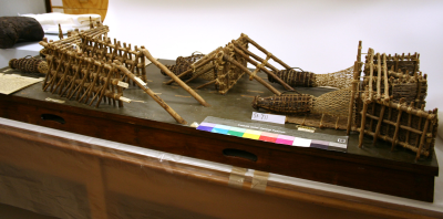Eel traps (hinake) along the Whanganui River, one of the set of models created with a grant from Carnegie Foundation of New York