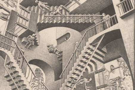 Escher-Relativity-detail-1953-Lithograph-29.1-x-29.4-cm-Gemeentemuseum-Den-Haag.-AllM.C.-Escher-works-copyright-©-The-M.C.-Escher-Company-B.V.-Baarn-the-Netherlands-